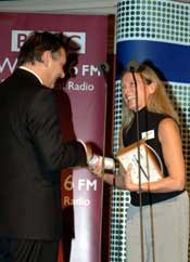 Jeanette Longfield, Coordinator of Sustain, receives a BBC Radio 4 Food & Farming award in 2005