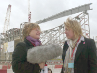 The BBC's Sheila Dillon interviews Ros Seal on the Olympic site