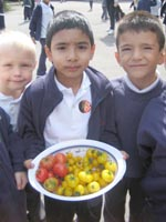 Children with tomatoes