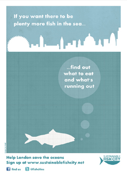 Sustainable Fish City London Skyline A4 poster