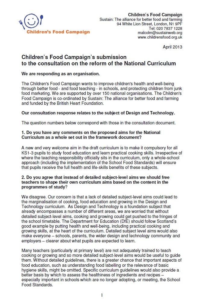 CFC curriculum consultation response