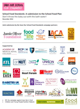 SOSFood  campaign joint submission to School Food Plan