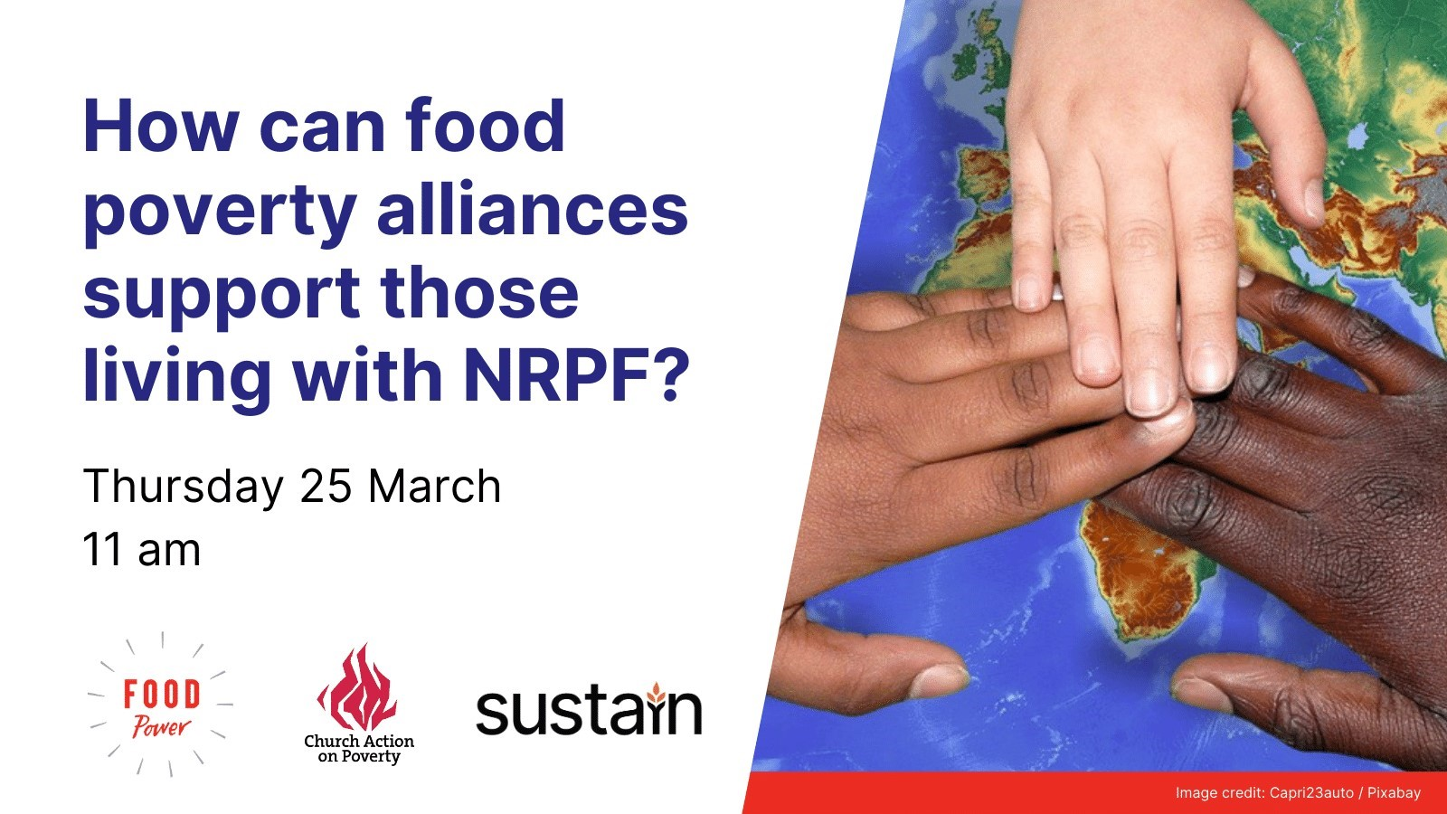 How can food poverty alliances support those living with NRPF? Thursday 25 March, 11am