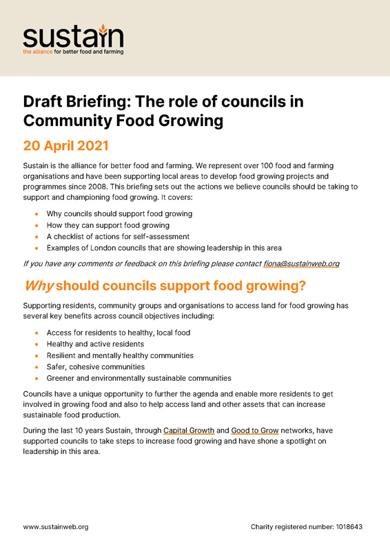 Draft Briefing: The role of councils in Community Food Growing