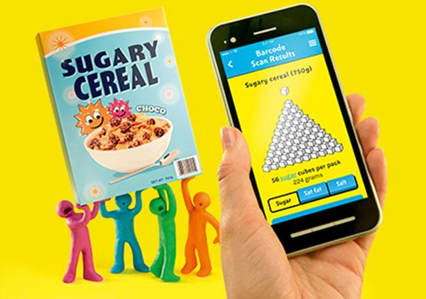 Change4Life food scanner app, image courtesy of PHE