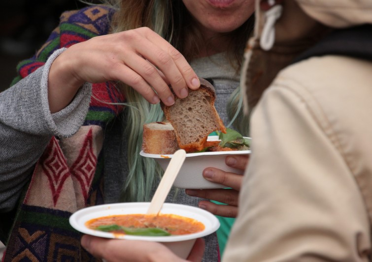 Sharing soup. Photo credit: Sustain