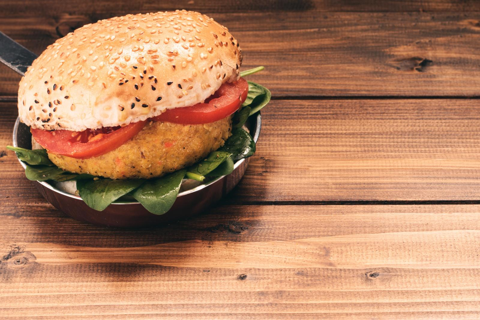 A vegetable burger. Photo credit: Pexels