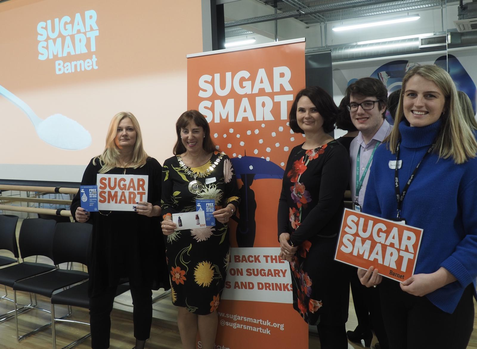 SUGAR SMART Barnet Launch Mayor Caroline Stock DpH Tamara Djuretic coordinator Rachel Hodge