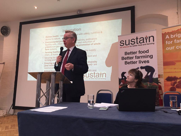 Defra Secretary Michael Gove speaking at a consultation event co-hosted by Sustain and Defra, 10 April 2018; with Sustain's Vicki Hird preparing to respond