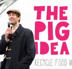 Food waste campaigner Tristram Stuart speaking at an event organised by The Pig Idea