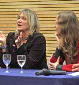 Claire Lewis and Caroline Bennett speaking at the University of Winchester LIFE event