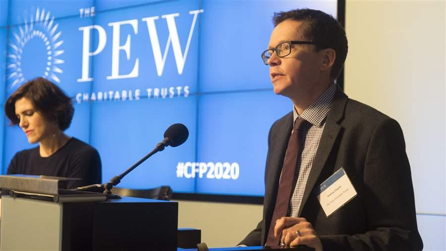 Andrew Clayton, head of the Pew Charitable Trust ending overfishing project, at the Countdown to 2020 conference, 2018; Photo credit: Pew