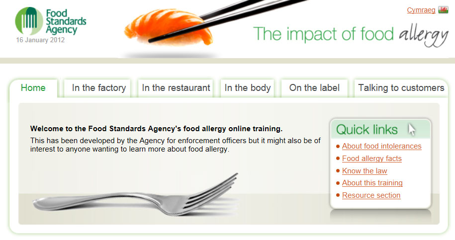 Food Standards Agency Online Food Allergy Training