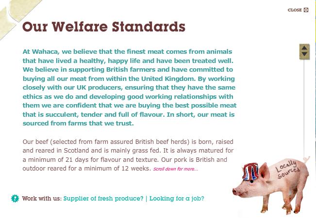 Wahaca animal welfare standards