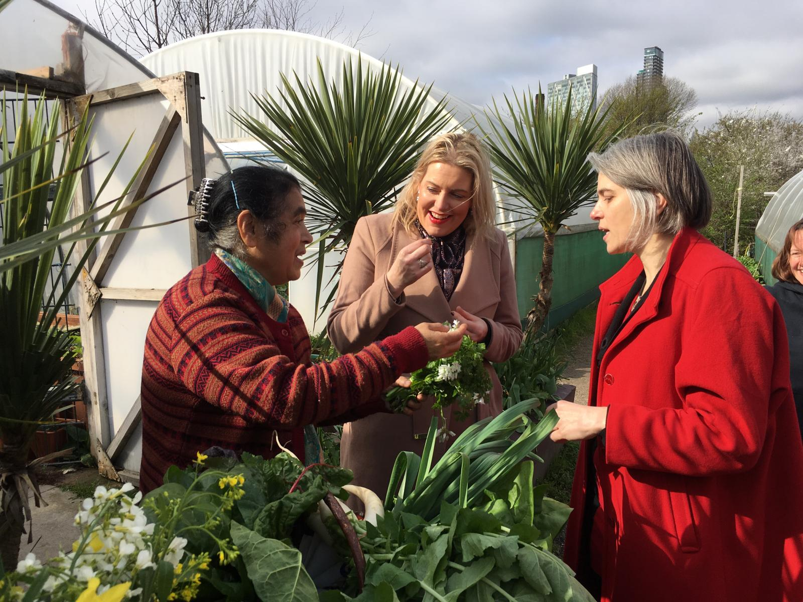 Mims Davies MP with Lutfun from Spitalfields City Farm and Anna Dixon, Chief Executive, Centre for Ageing Better