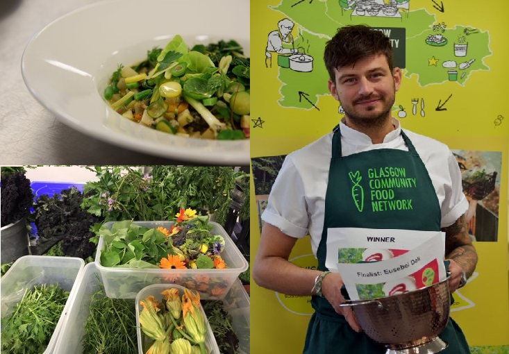 The winner Sebastian Wereski with his winning dish and some of the amazing local produce used in his creation. Credit: Errika Zacharopoulou