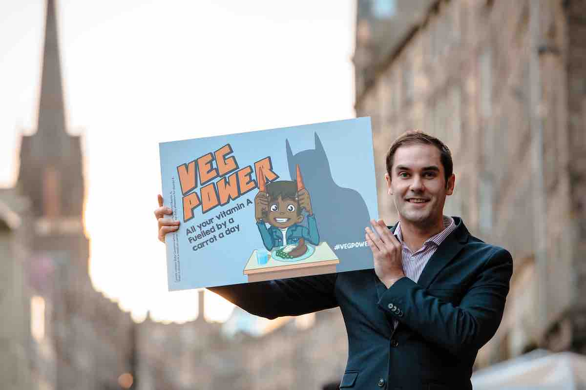 Edinburgh City Council leader Adam McVey supported the first Veg Power advert and is now supporting Veg Cities Edinburgh.