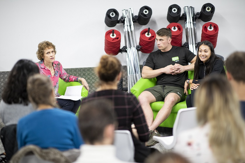 As part of the Oxford Science Festival, lead researcher, Prof Susan Jebb, facilitated a discussion around protein and performance together with Maria Reyes, a vegan personal trainer, and Joe Butler, a body-builder and meat-lover. Credit: IF Oxford