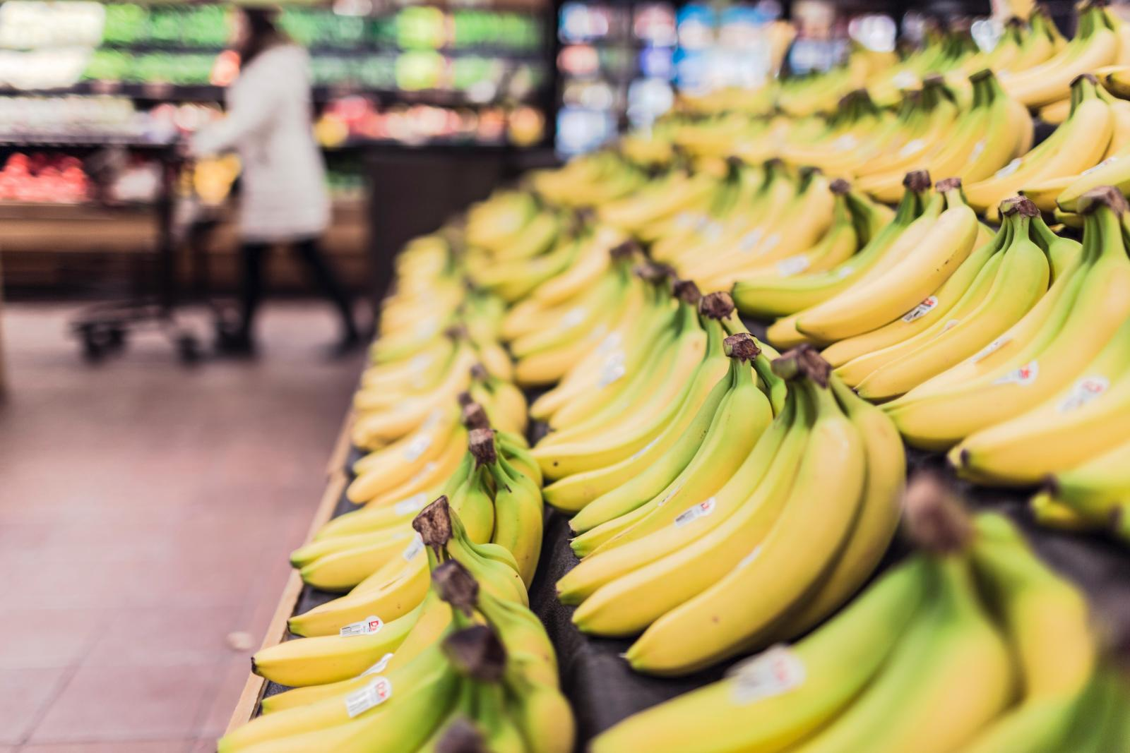 Bananas on shelves. Credit: Pexels