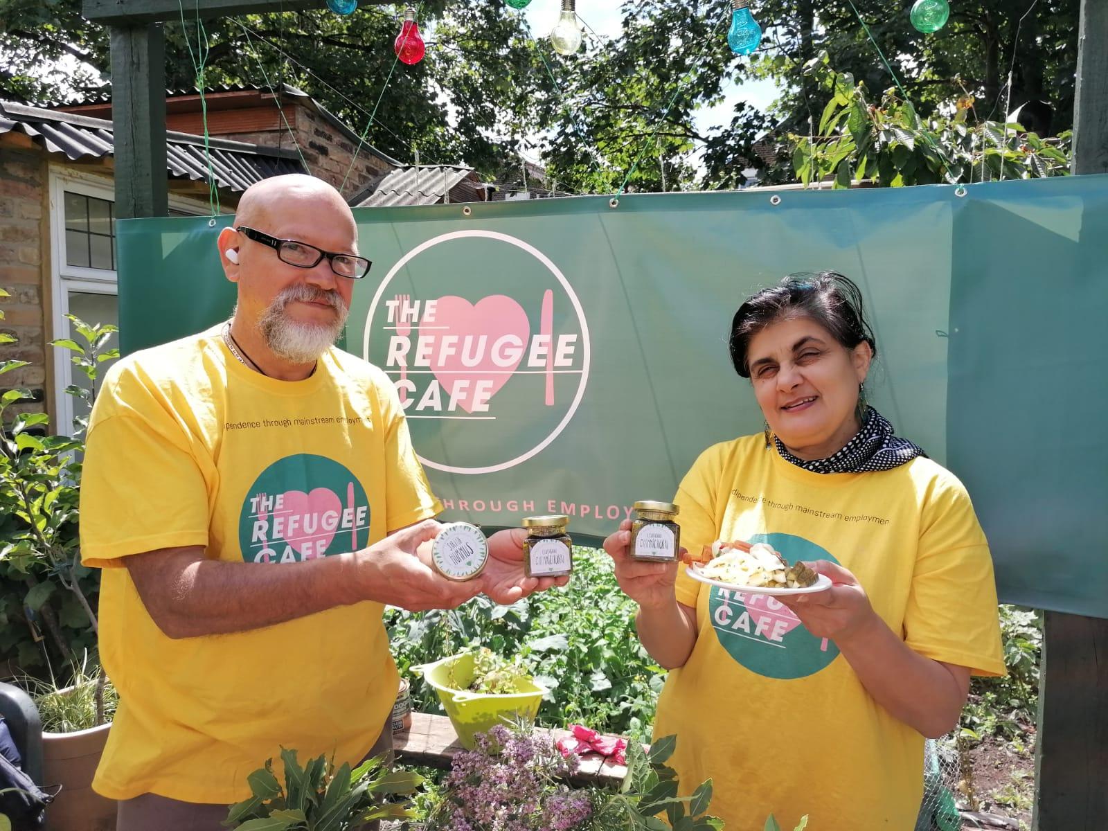 Iolanda Chirico and Marco Munoz showcasing some of the Refugee Cafe's pilot products. Taken by: Sujeewa Samasundara