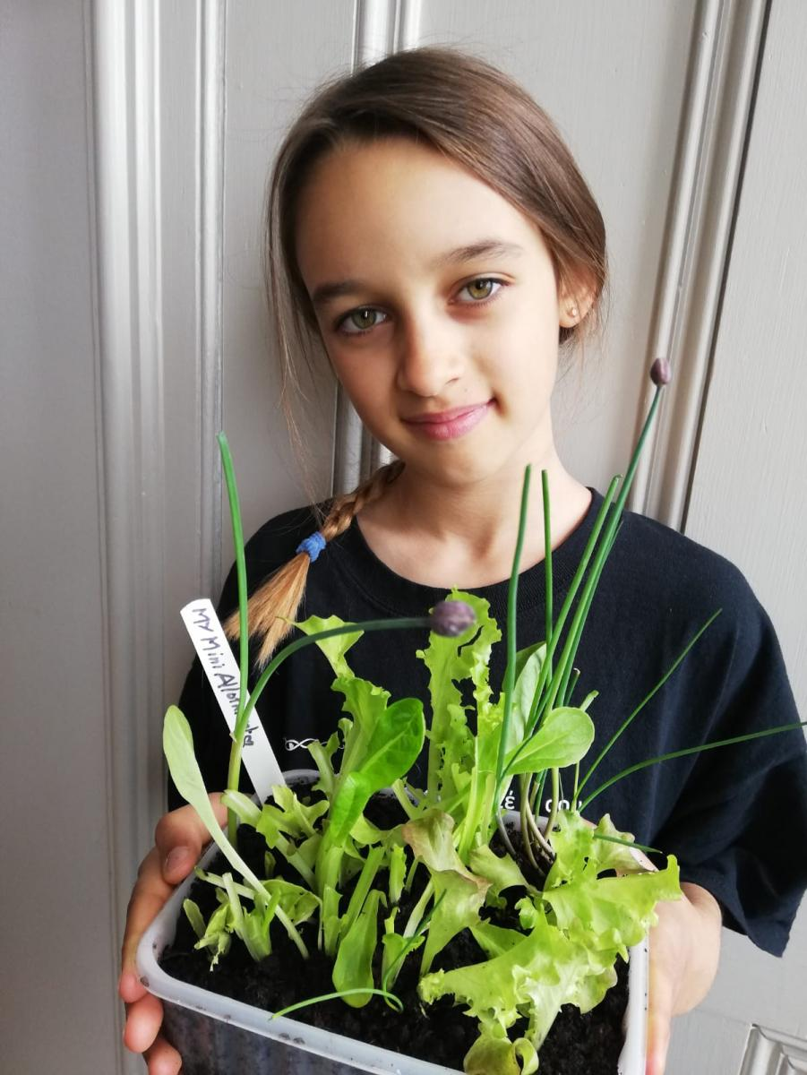 Credit: Weald Allotment. Picture shows Beba Watts-Emirali, aged ten, with a mini-allotment. Beba has been helping her mother out at the Weald allotment site during lockdown.