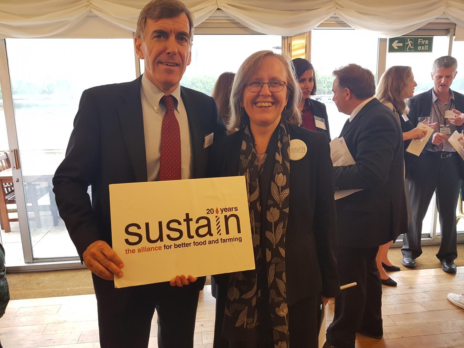 Sustain chief executive Kath Dalmeny with David Rutley MP, Minister for Food and Animal Welfare. Photo credits: Sarah Davenport and Orla Delargy
