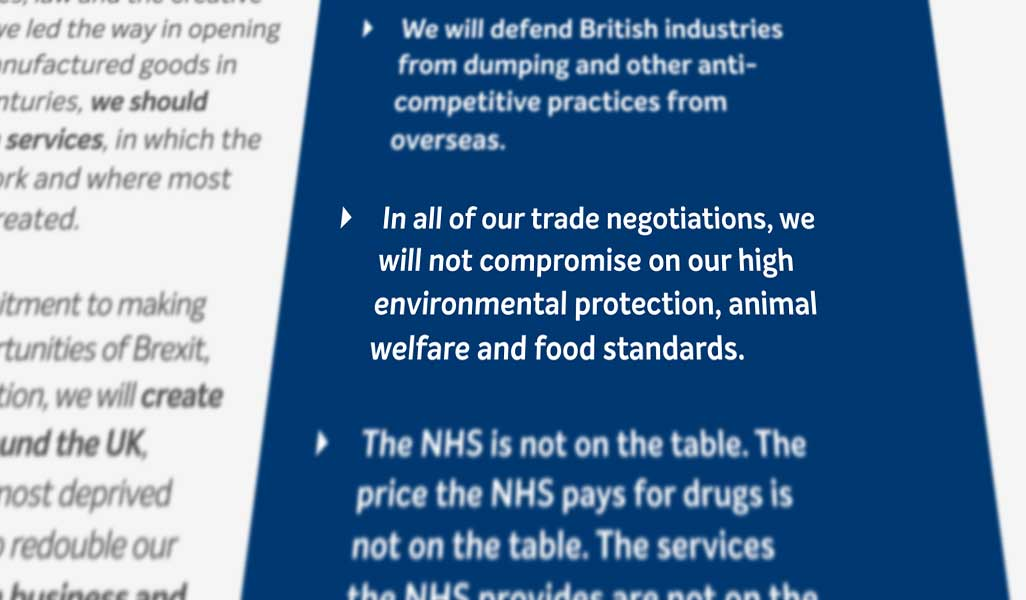 Conservative 2019 Manifesto pledge on trade and agri-food standards. Credit: The Conservative Party