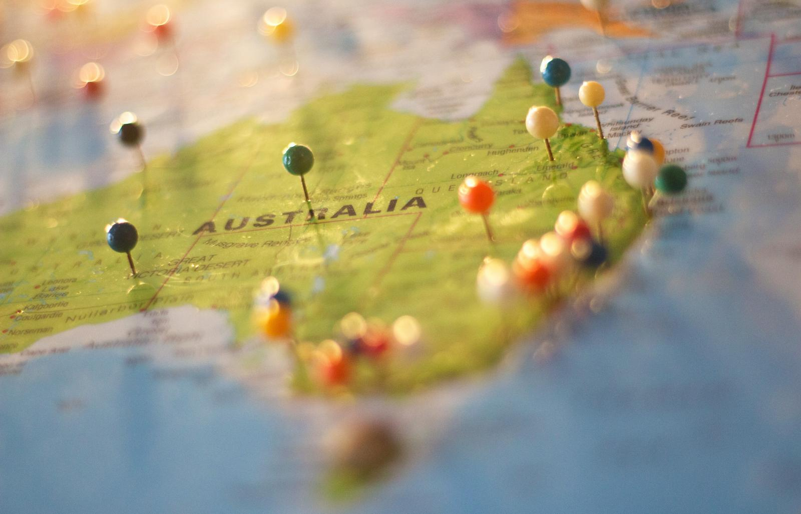 Map of Australia. Photo credit: Pexels