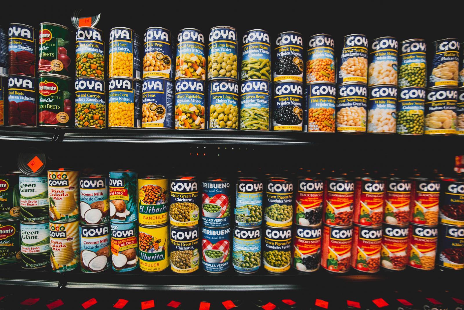Tinned foods. Photo credit: Pexels