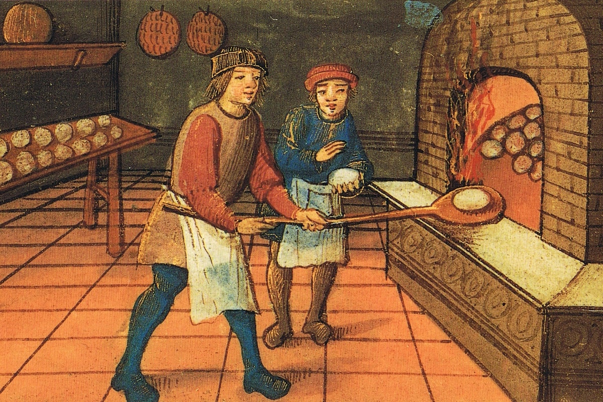 A medieval baker and apprentice. The Bodleian Library, Oxford. Public domain