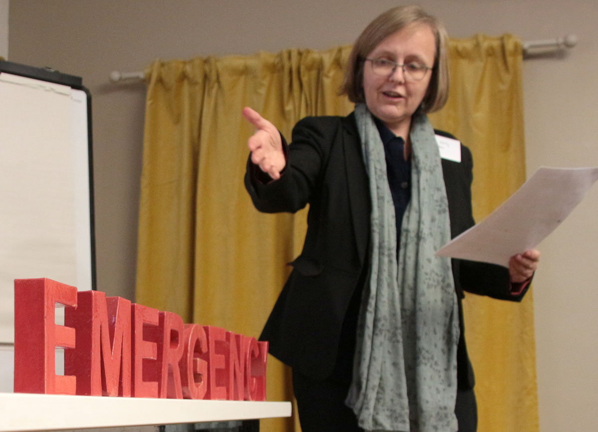 Sustain chief executive Kath Dalmeny brings the word EMERGENCY into the room at the Sustain AGM, December 2019. Photo credit: Chris Young