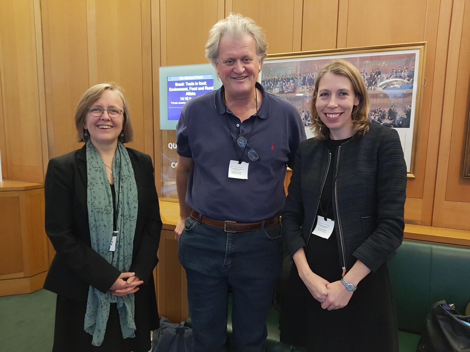 Sustain's chief executive Kath Dalmeny (left) gave evidence in a session with Tim Martin (centre), Chair of the pub chain Wetherspoon and Sue Davies, Strategic Policy Adviser for Which? (Consumers Association) (right).The session was recorded on vide