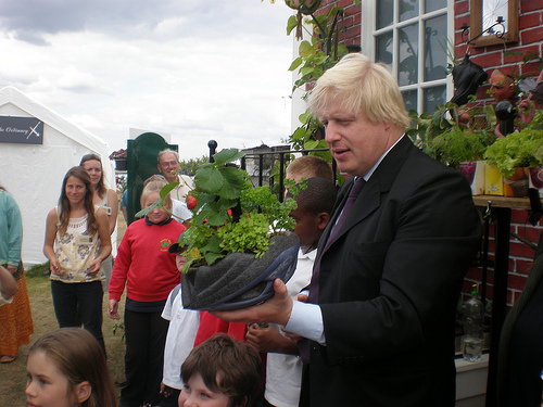 Boris Johnson (recently appointed Prime Minister) participating in Sustain's Capital Growth food growing event when he was Mayor of London