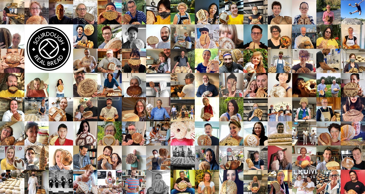 The 100+ sourdough selfies that were emailed to us during the month. Montage CC-BY-SA-2.0 www.realbreadcampaign.org. See below for individual photo credits